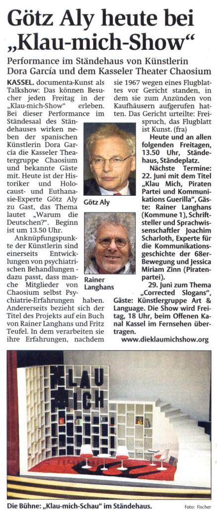 Hessische Allgemeine HNA, 15.06.2012 documenta 13